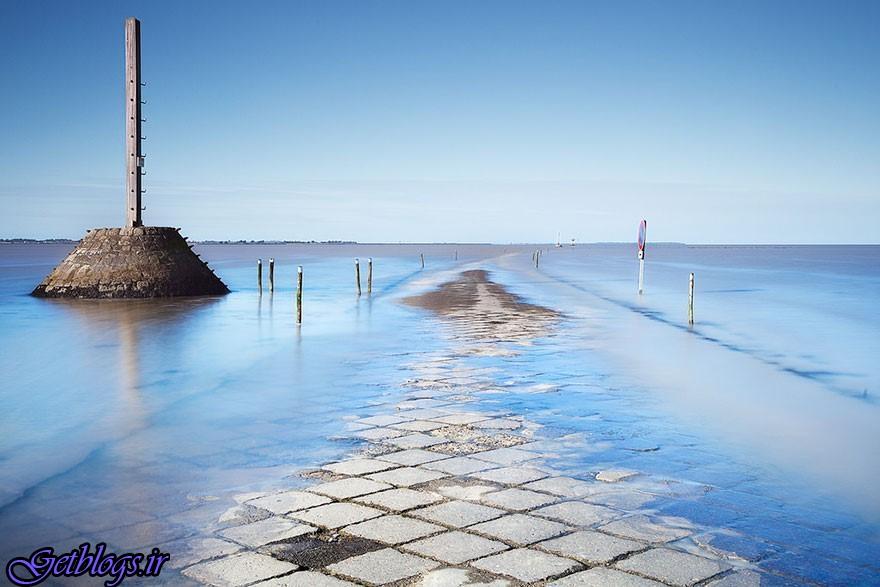 تصویر) + جادهای که روزی دوبار زیر آب میرود (