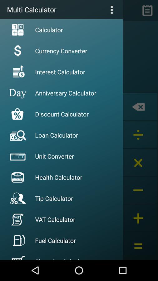 ماشین حساب چندکاره و تبدیل واحد حرفهای اندروید , دانلود Multi Calculator