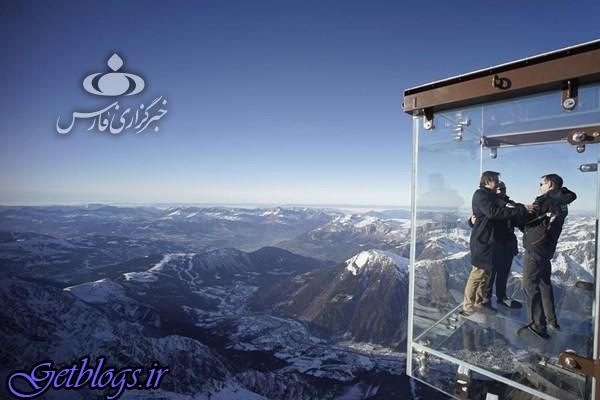 تصاویر) + اتاقک شیشهای کوه آلپ (